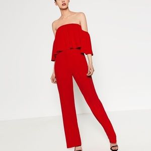 Zara Red Ruffle Off the Shoulder Jumpsuit Sz M